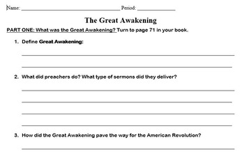 Great Awakening Worksheet ( TCI United States Through Indu