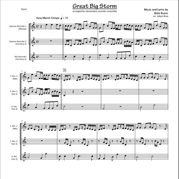 Great Big Storm by Nate Ruess for Elementary Recorder Ensemble