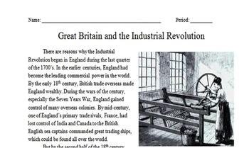 Great Britain & The Industrial Revolution Worksheet