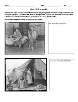 Great Depression Life Photo Analysis Activity