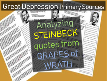 Great Depression Primary Source: Analyzing Steinbeck Quote