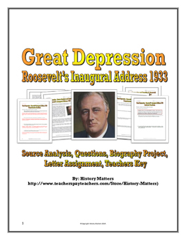 Great Depression and Franklin Roosevelt - Source Analysis
