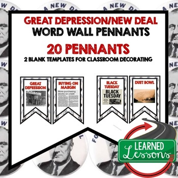 Great Depression and New Deal Word Wall Pennants (American