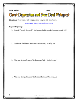 Great Depression and Roosevelt's New Deal - Webquest with Key