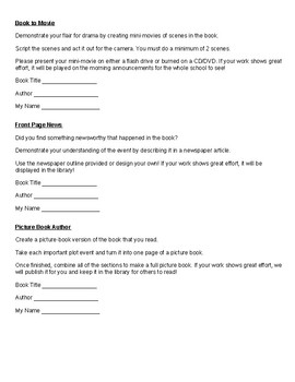 No more Boring Book Reports! Easy Follow Up Activities for