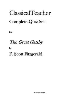 Great Gatsby Complete Quiz Set