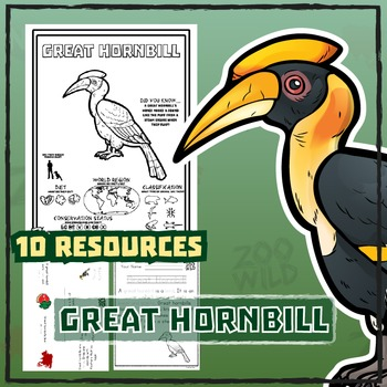 Great Hornbill -- 10 Resources -- Coloring Pages, Reading