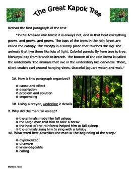 Great Kapok Tree CCSS aligned assessment