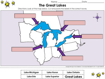 Great Lakes: The Great Lakes Cut and Paste Activity - King