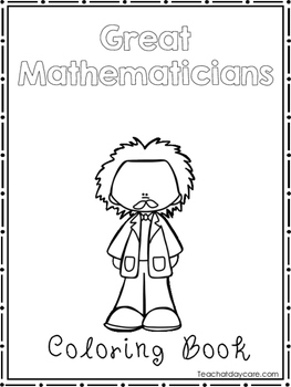 Great Mathematicians Coloring Book worksheets.  Preschool-