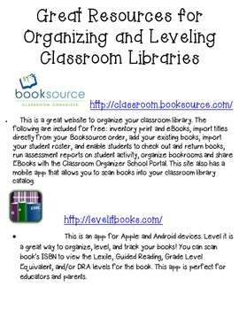 Great Resources for Organizing and Leveling Classroom Libraries