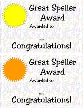 Great Speller Certificate, Assorted Colors