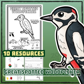 Great Spotted Woodpecker -- 10 Resources -- Coloring Pages