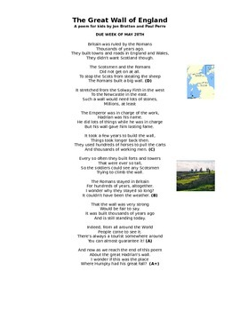 Great Wall Poem - Use when teaching Rome