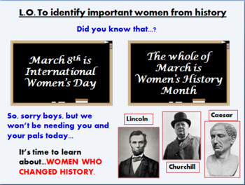 Great Women in History (primary lesson for Women's History Month)