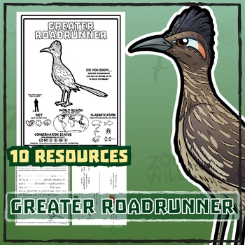 Greater Roadrunner -- 10 Resources -- Coloring Pages, Read