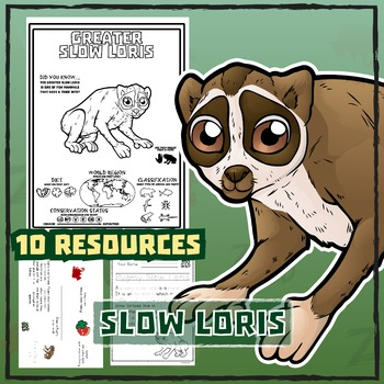 Slow Loris -- 10 Resources -- Coloring Pages, Reading & Ac