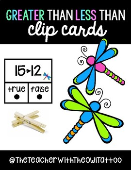Greater Than Less Than Clip Cards