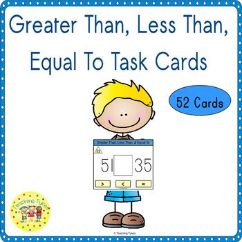 Greater Than Less Than Equal To Clip Task Cards