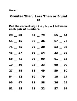 Greater Than, Less Than, Equal To