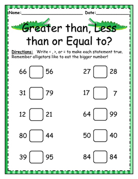 Greater Than, Less Than, Equal to Worksheet