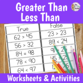 Greater Than Less Than Centers and Worksheets