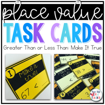 Greater Than Less Than Task Cards {2 Digit Numbers}
