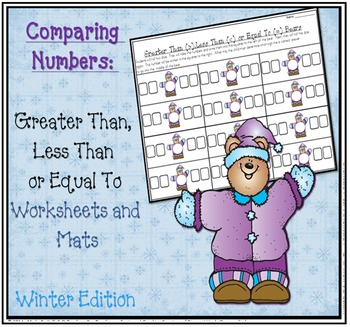 Greater Than Less Than Winter Snowman Math