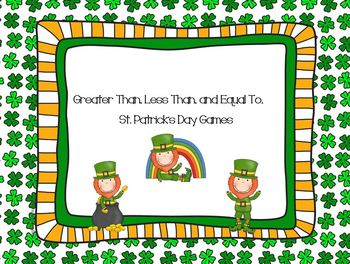 Greater Than Less Than and Equal To - St. Patrick's Day Games