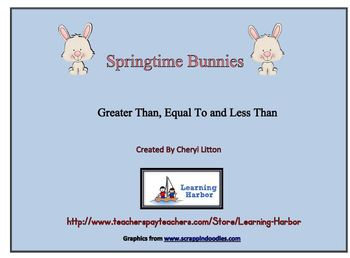 Greater Than Less Than and Equal To with Springtime Bunnies