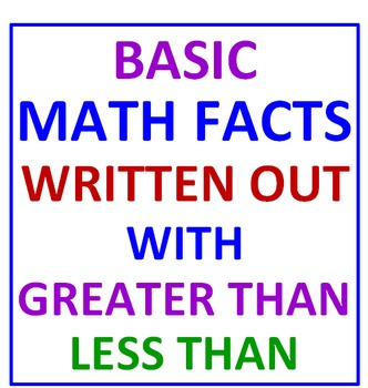 Greater Than Less Than with Basic Math Facts Written Out