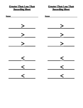Greater or less Recording Sheet