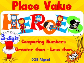 Greater than - Less than - SUPER HEROES! - 3-DIGIT - Smart