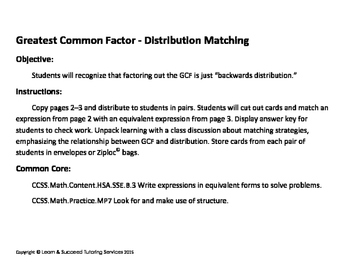 Greatest Common Factor - Distribution matching