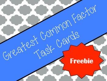 Greatest Common Factor (GCF) Task Cards - Freebie