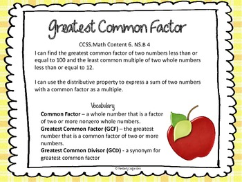 Greatest Common Factor Task Cards aligned to Common Core S