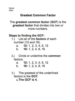Greatest Common Factors, Least Common Multiples, Prime Fac