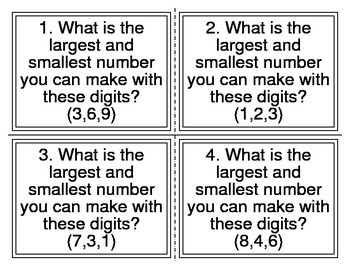 Greatest and Least Number with Digits Task Cards (14)