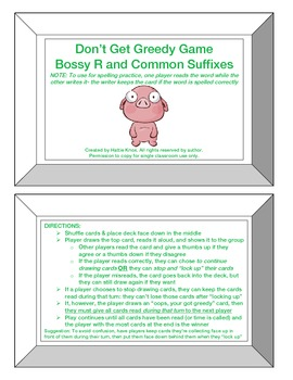 Greedy Game: Bossy R + Common Suffixes-Orton Gillingham Ph
