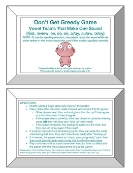 Greedy Game: Vowel Teams with 1 Sound- Orton Gillingham Ph