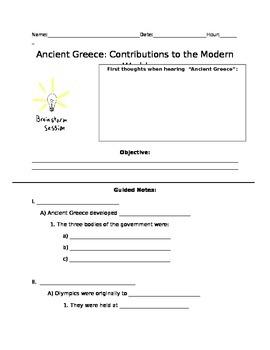 Greek Contributions to Modern World Worksheet