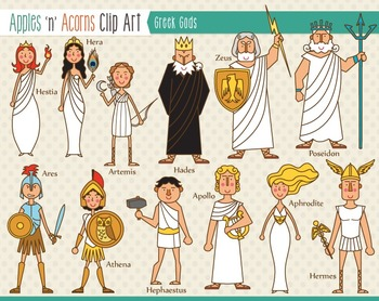 Greek Gods Clip Art - color and outlines