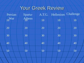 Greek Jeopardy Review Ancient Greece Sparta Athens Alexand