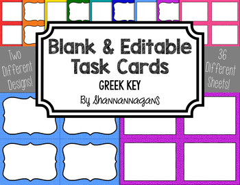 Greek Key Blank Task Cards (Basic Colors)
