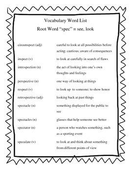 "Greek & Latin Root Words ""spec"""