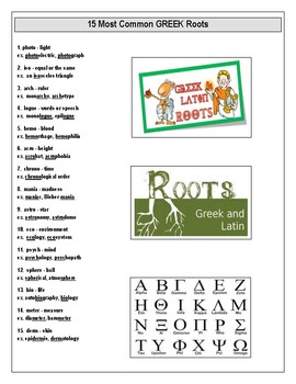 Common Greek and Latin Roots Vocabulary Unit