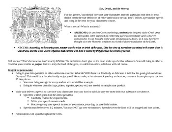 Greek Mytholgoy- Persuasive Speech/Food Project