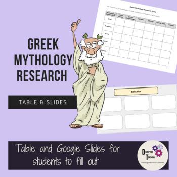 Greek Mythology Research Table