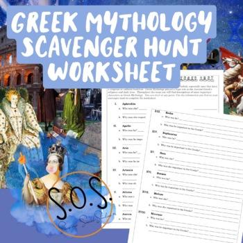 Greek Mythology Scavenger Hunt Worksheet