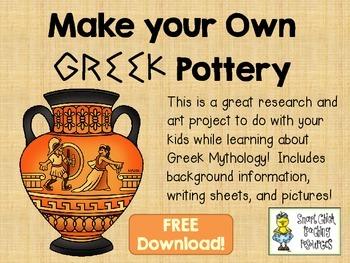 Greek Pottery Freebie ~ Research Information, Writing Shee
